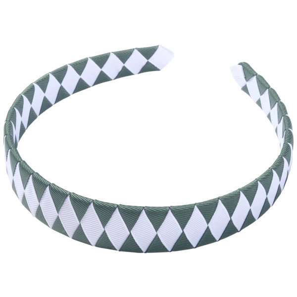 School Hair Accessories green and white Woven Headband