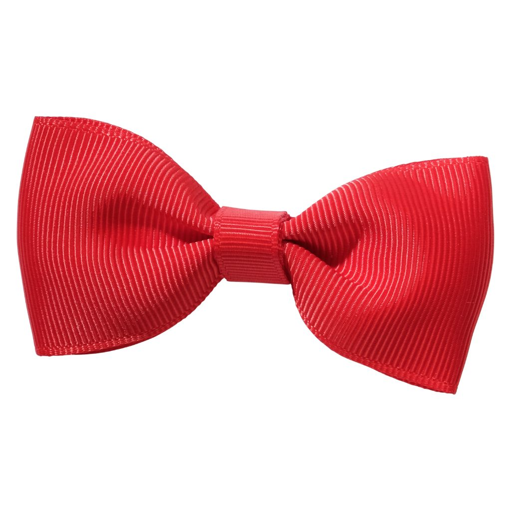 Ruby red colour ribbon bow girls school hair clip