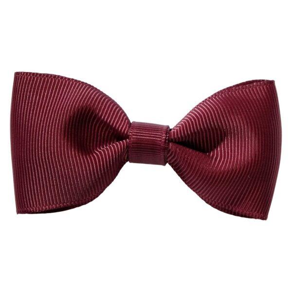 Wine colour ribbon bow girls school hair clip