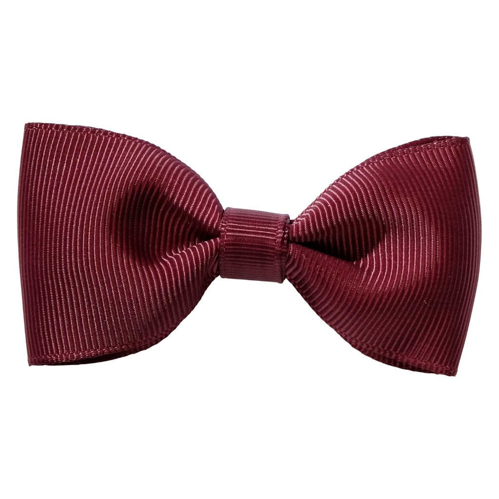 Wine colour ribbon bow girls school hair clip