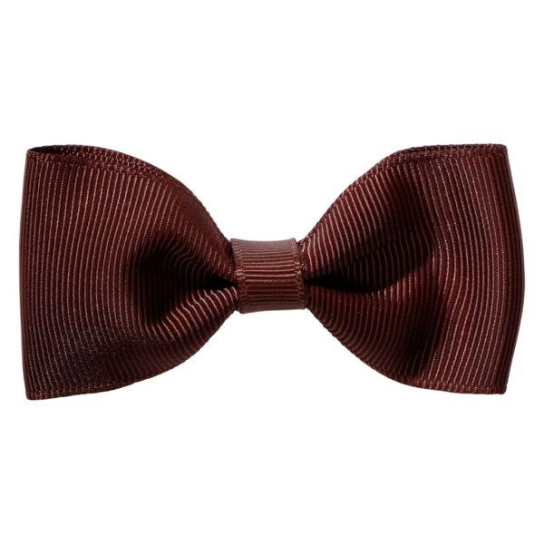 Dark brown colour ribbon bow girls school hair clip