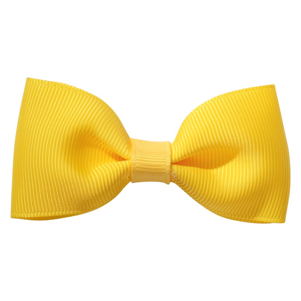 Yellow ribbon bow girls school hair clip