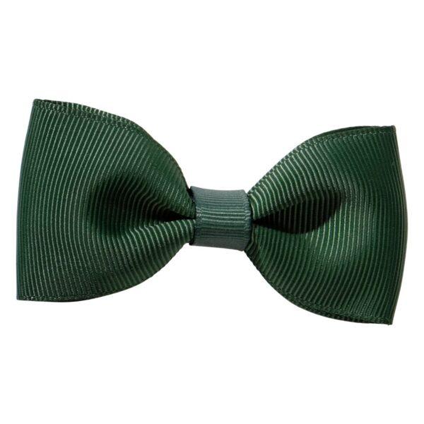 Bottle green ribbon bow girls school hair clip