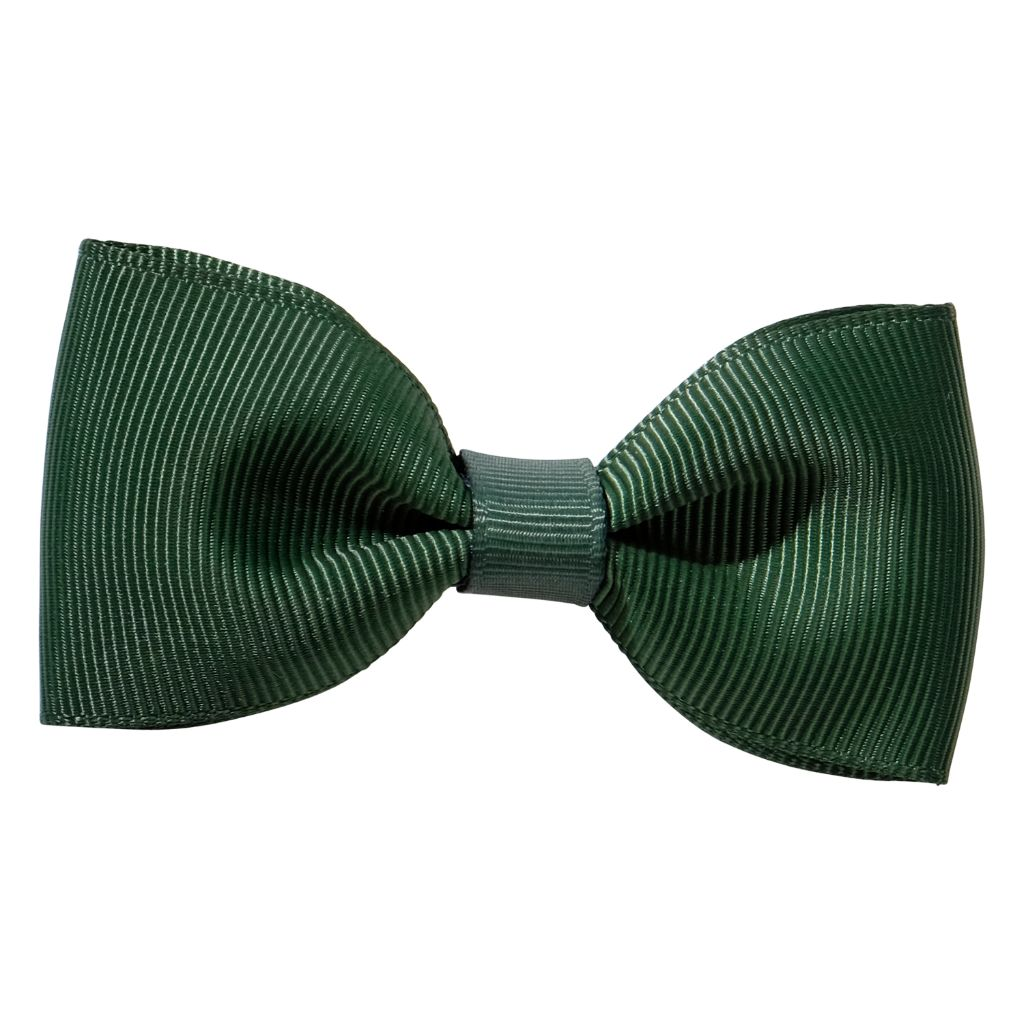Bottle green ribbon bow girls school hair clip