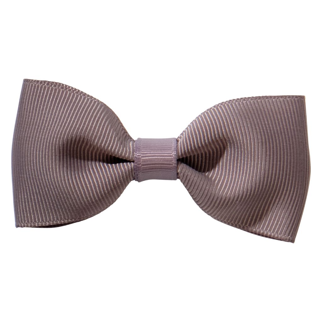Grey ribbon bow girls school hair clip