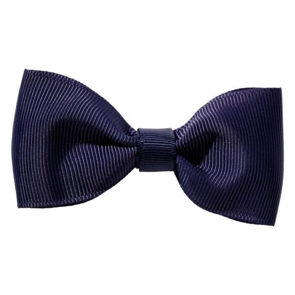 Navy blue ribbon bow girls school hair clip