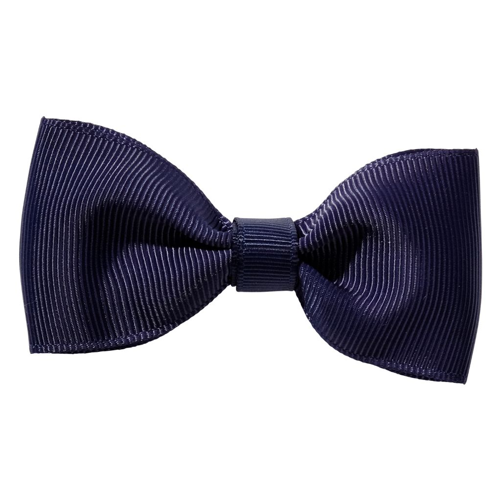 Navy blue ribbon bow girls school hair clip