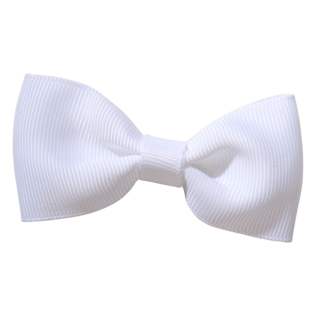 White ribbon bow girls school hair clip
