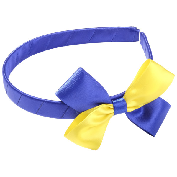 School Hair Accessories cobalt royal blue and yellow bow headband