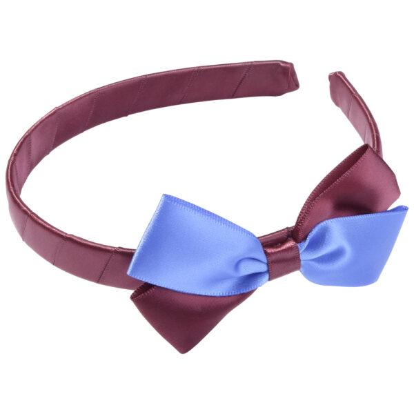 School Hair Accessories burgundy and royal blue bow headband