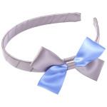 School Hair Accessories grey and sky blue bow headband