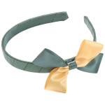 School Hair Accessories green and gold bow headband