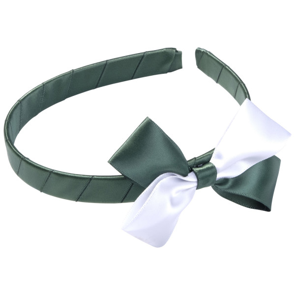 School Hair Accessories green and white bow headband
