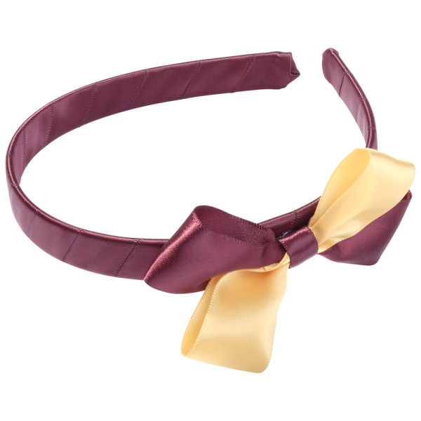 School Hair Accessories burgundy and gold bow headband