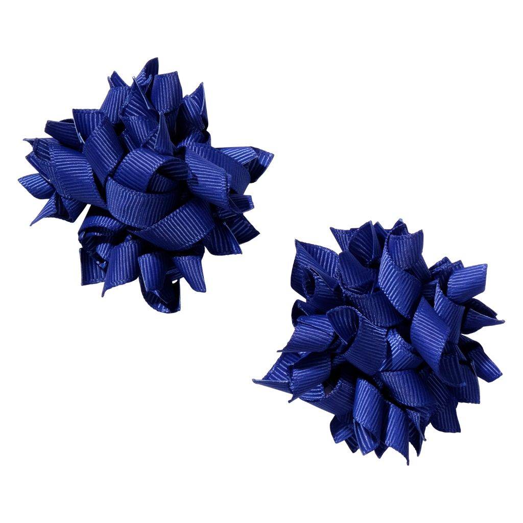 School hair accessories Korker bow hair clips cobalt blue colour