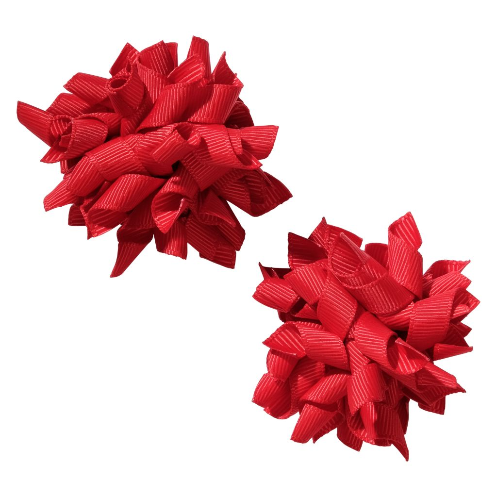 School hair accessories Korker bow hair clips red colour