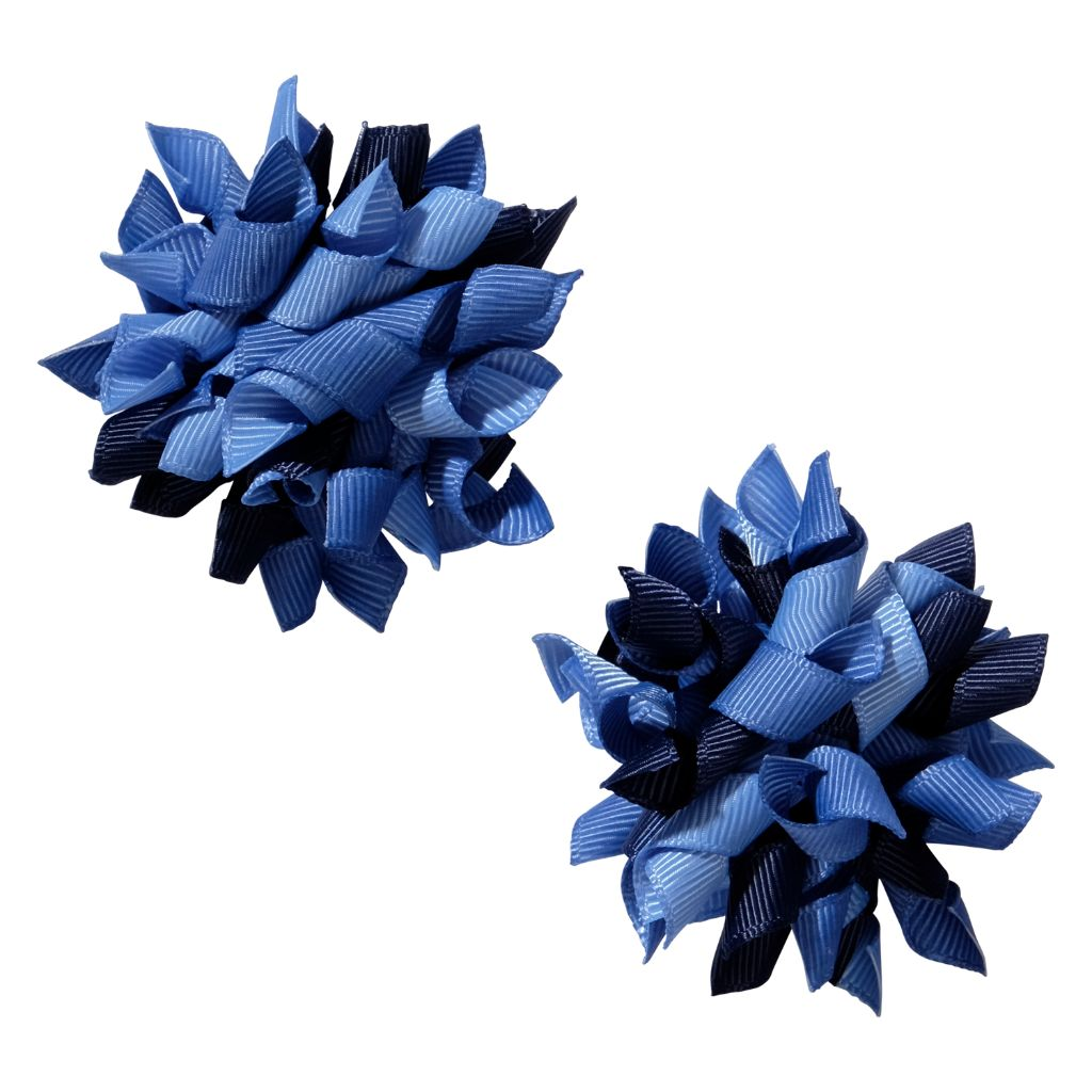 School hair accessories Korker bow hair clips dark blue mix