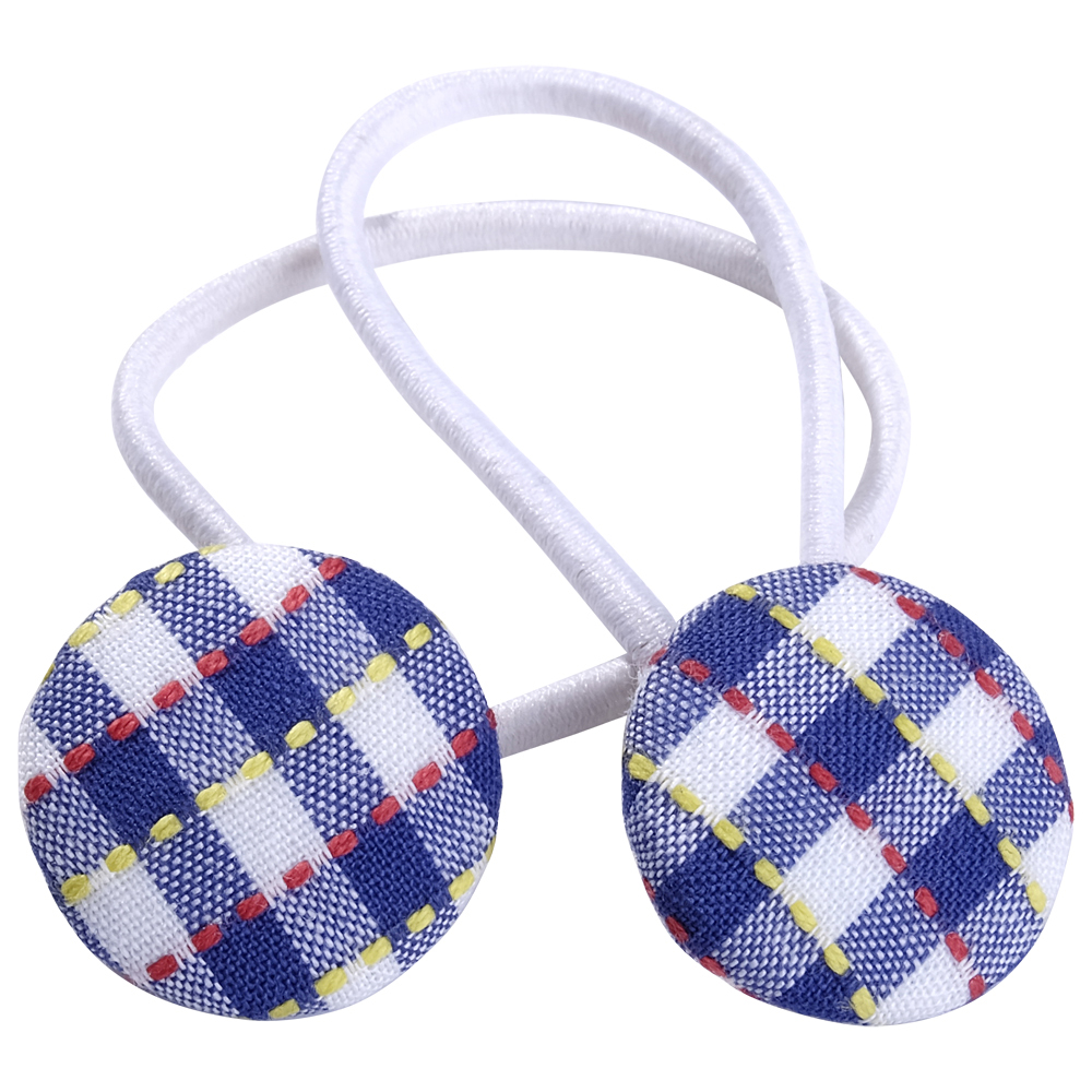 School hair accessories fabric covered buttons elastic