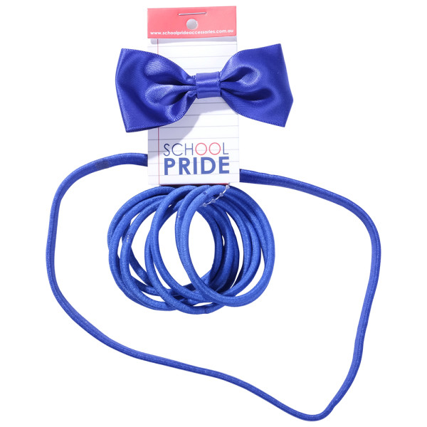 Royal blue school hair accessory pack