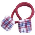 School hair accessories uniform fabric covered square button elastic