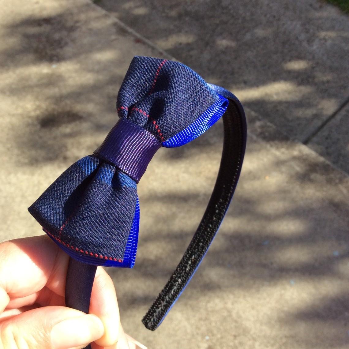 school hair band bow satin