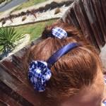 School Pride flower uniform hair