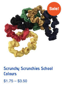 School coloured scrunchy scrunchies hair accessories